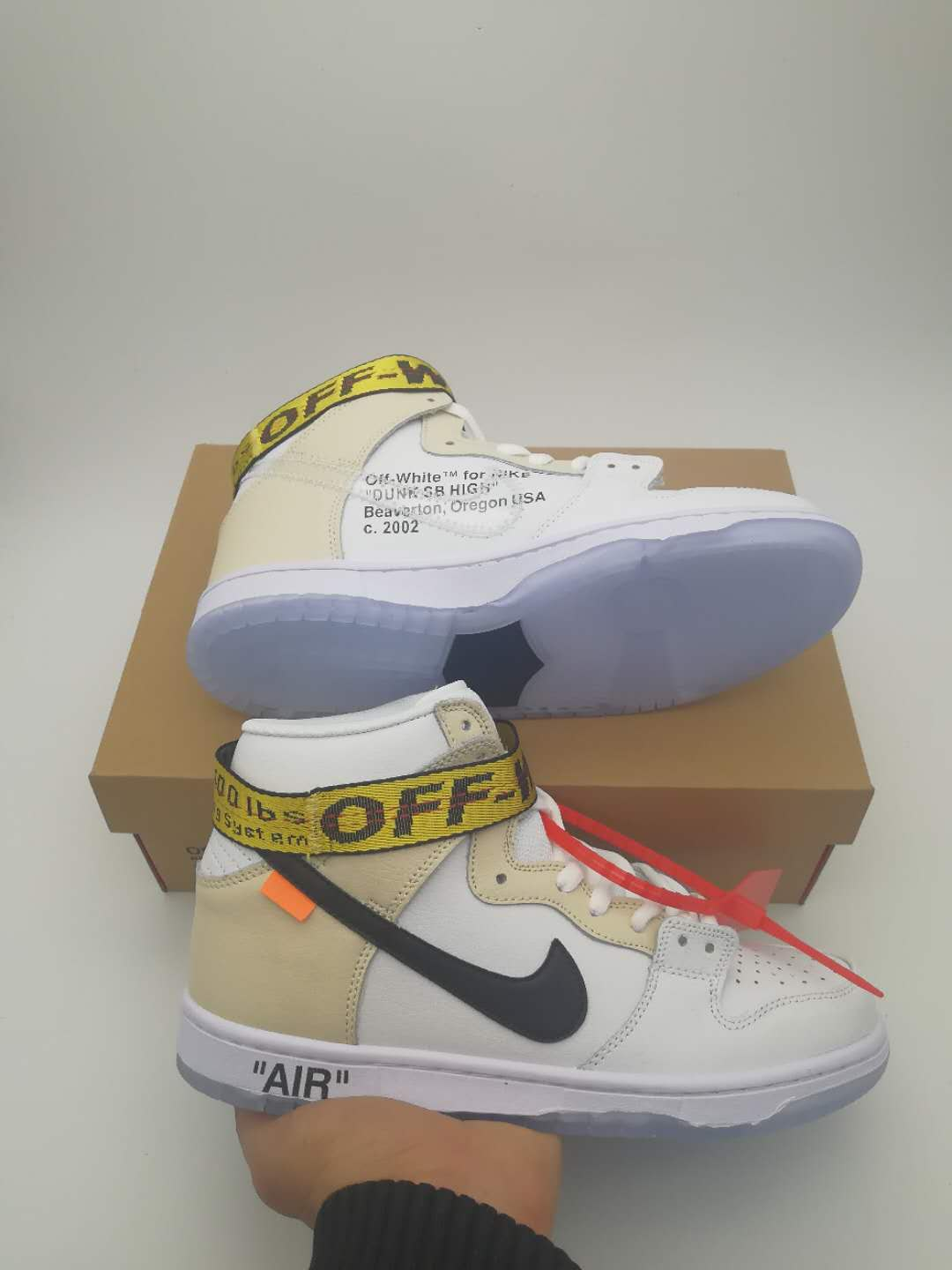Women Off-White x Nike Dunk SB High White Beign Black Shoes