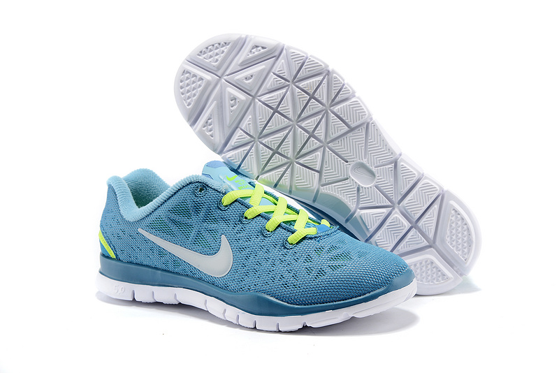 Child Nike Free Run 5.0 Baby Blue Fluorscent Green Shoes