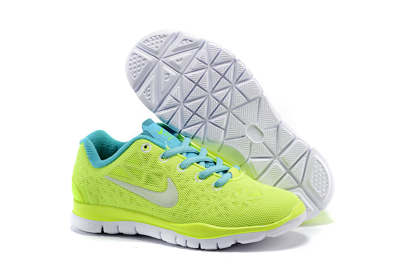 Child Nike Free Run 5.0 Fluorscent Green Blue Shoes