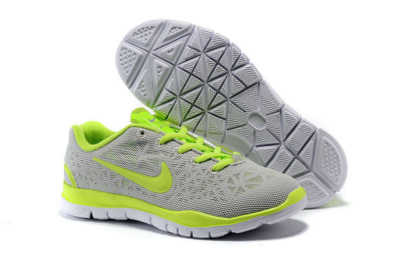 Child Nike Free Run 50 Grey Fluorscent Green Shoes