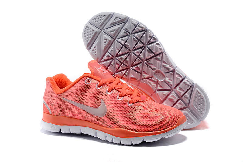 Child Nike Free Run 50 Orange Grey Shoes