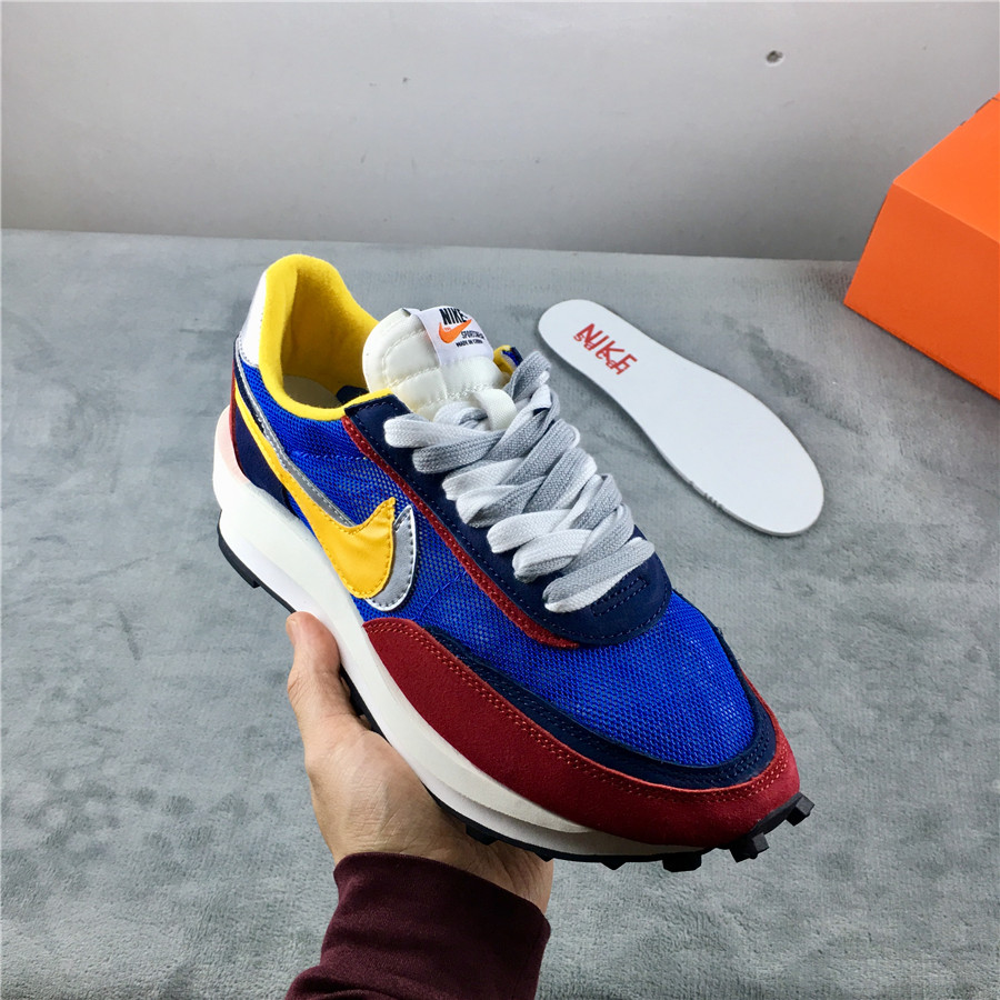 Women Sacai x Nike LDV Waffle Blue Wine Red Silver Yellow Shoes