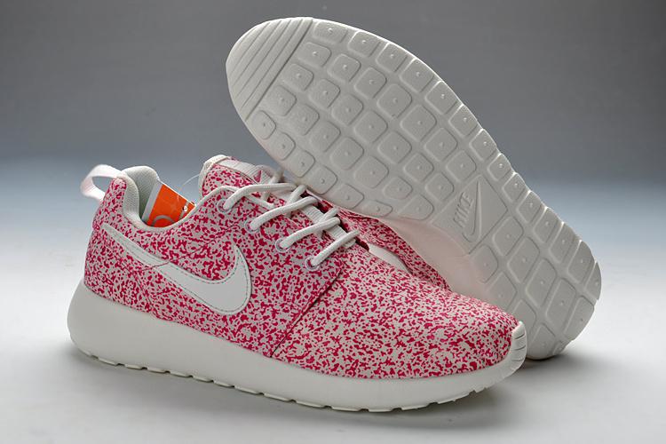 Summer Nike Roshe Run Pink White Print Sport Shoes For Women