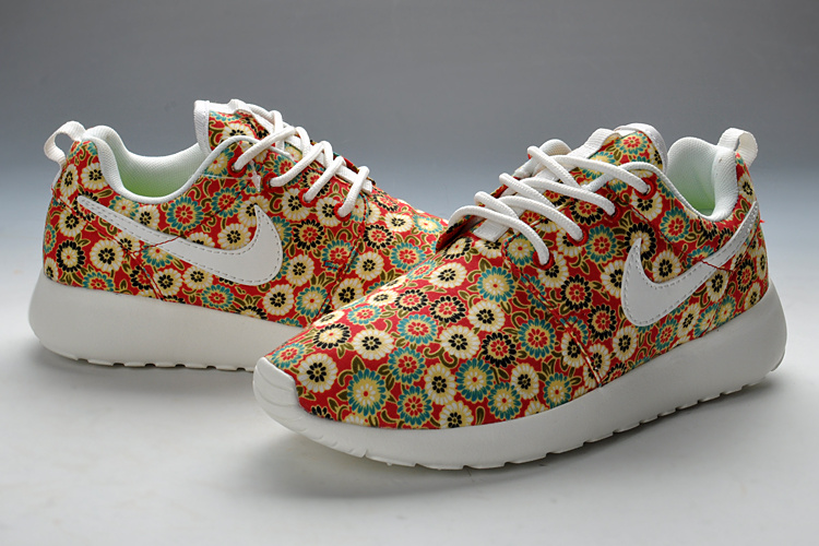 Summer Nike Roshe Run Red Print Sport Shoes For Women