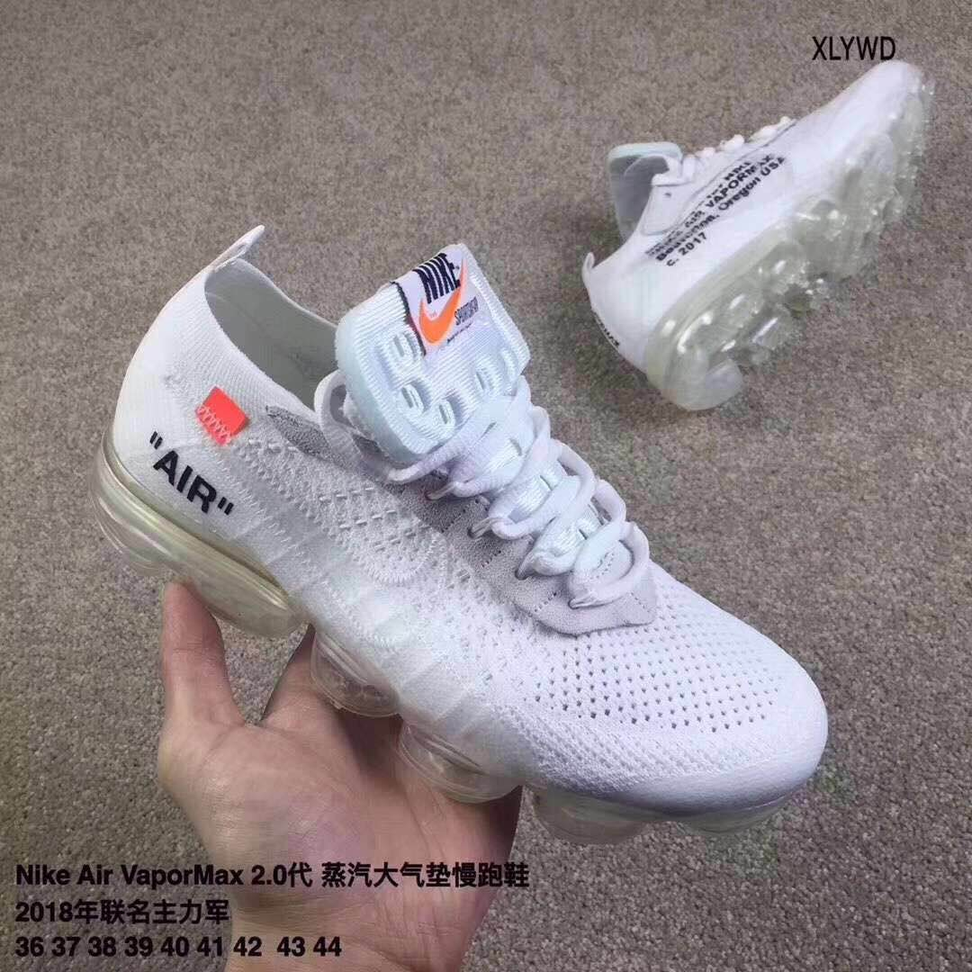 UNC OFF-WHITE Nike Air VaporMax Flyknit 2018 All White Lover Shoes