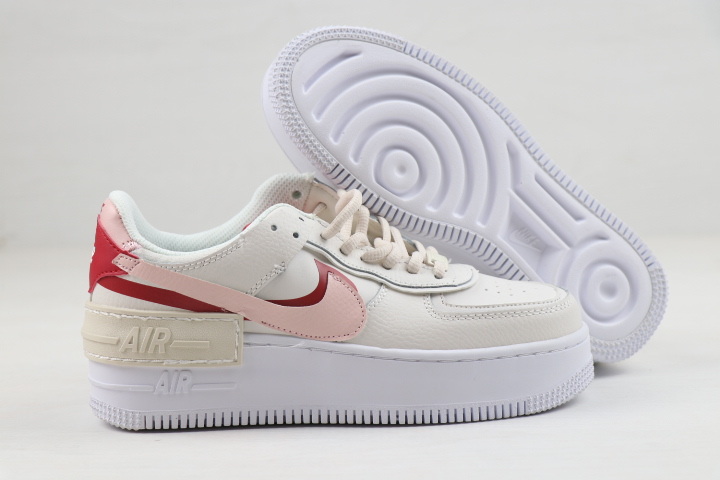 Women Nike Air Force 1 Low Shadow White Pink Red Shoes