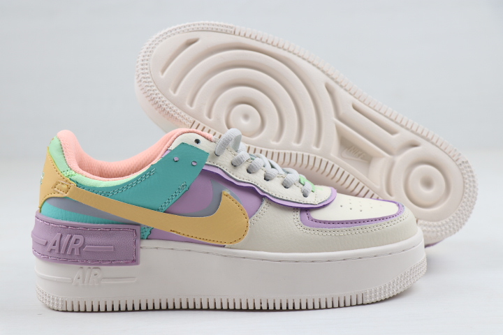 Women Nike Air Force 1 Low Shadow White Purple Blue Yellow Shoes