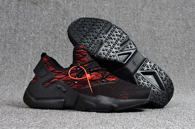 Women Nike Air Huarache 6 Flyknit Black Red Shoes