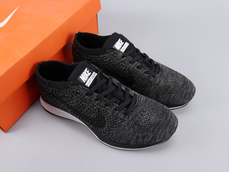 Women Nike Flyknit Racer Black White Shoes
