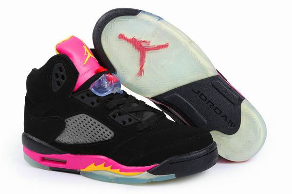 Women Air Jordan 5 Fluff Black Pink Shoes
