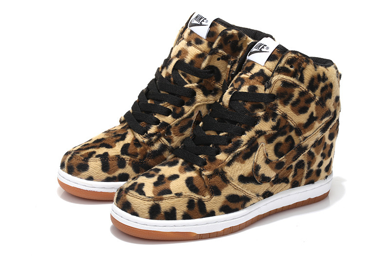 Women Cheetah Print Nike Dunk SB High Shoes