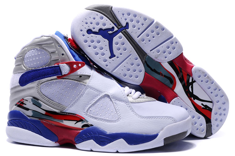 Women Jordans 8 White Blue Red