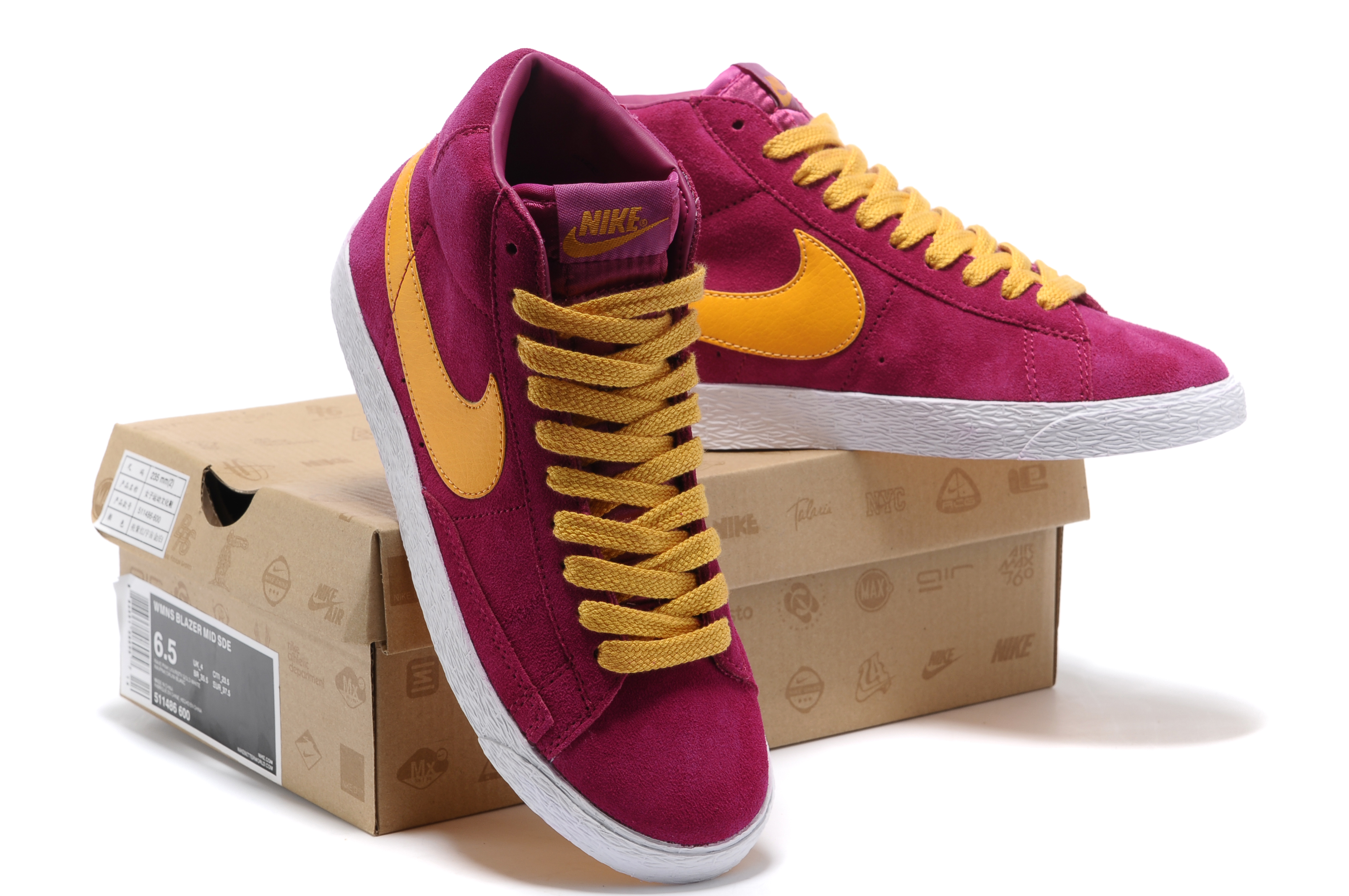 Women New Nike Blazer Mid Red Yellow Shoes