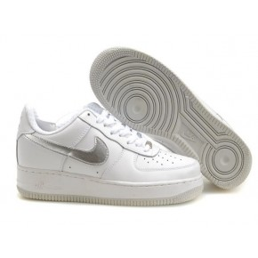 Women Nike Air Force 1 Low White Silver Shoes