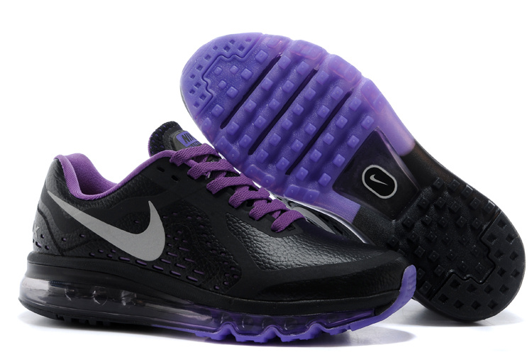 Women Nike Air Max 2014 Leather Black Purple Sport Shoes