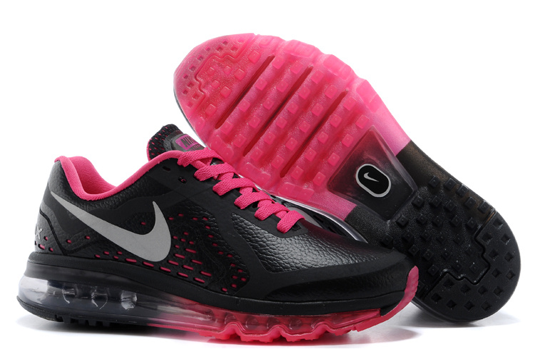 Women Nike Air Max 2014 Leather Black Red Sport Shoes