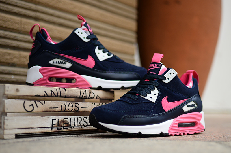 buy online cf76e cbc15 Women Nike Air Max 90 High Blue Pink White Shoes