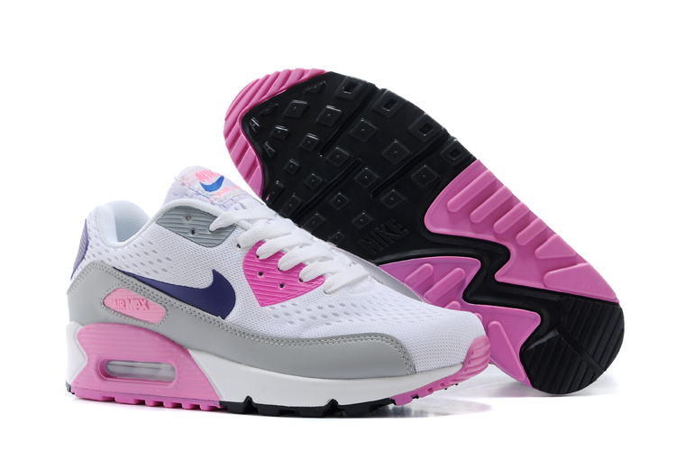 Women's Nike Air Max 90 Knit White Grey Pink Shoes