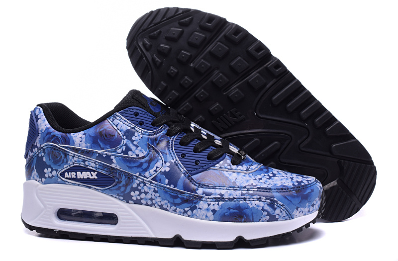 Women Nike Air Max 90 TKO Blue Black White Rose Print Shoes