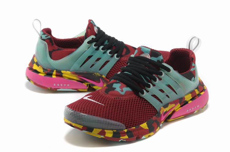 Women Nike Air Presto 1 Camo Wine Red Light Green Yellow Sport Shoes