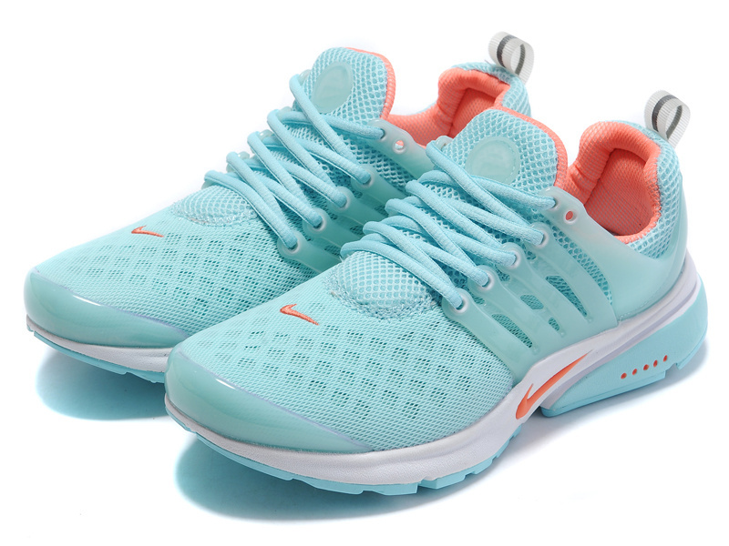 Women Nike Air Presto 2 Carve Baby Blue Orange Sport Shoes With Holes