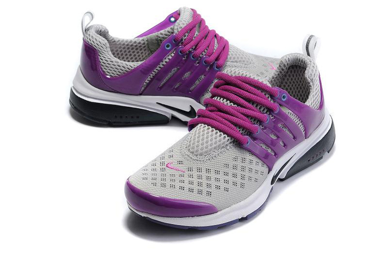 Women Nike Air Presto 2 Carve Grey Purple Black Sport Shoes With Holes