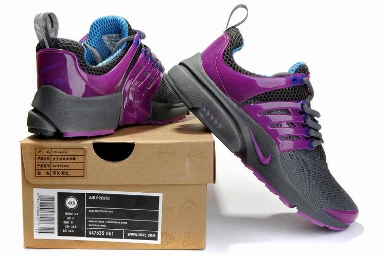 Women Nike Air Presto 2 Carve Grey Purple Sport Shoes With Holes