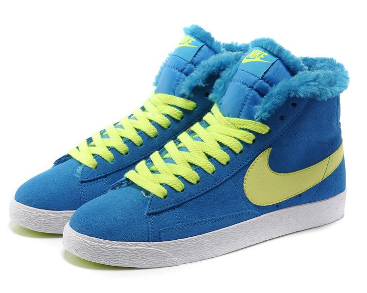Women Nike Blazer 1 High Wool Blue Volt Shoes