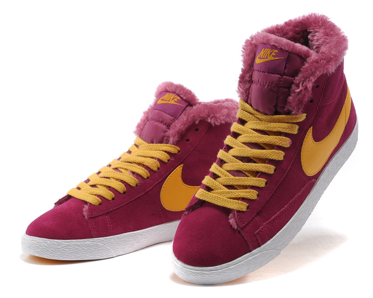 Women Nike Blazer 1 High Wool Peach Red Yellow Shoes