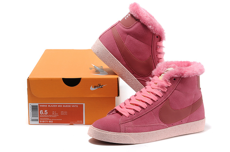 Women Nike Blazer 1 High Wool Pink Shoes