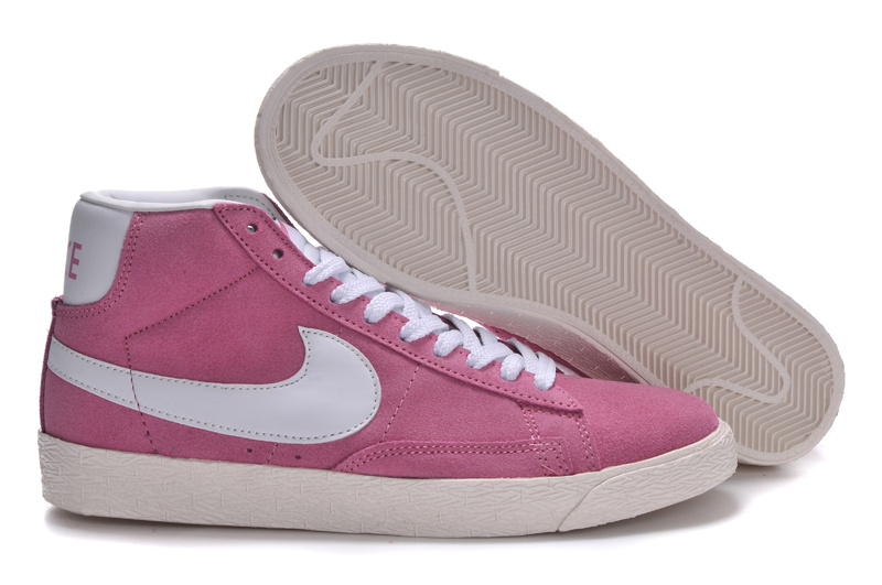Women Nike Blazer High Suede Pink White Shoes