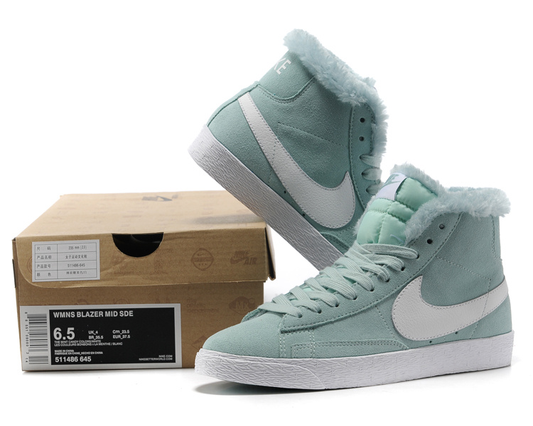 Women Nike Blazer High Wool Light Jade White Shoes