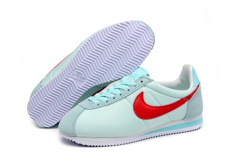 Women Nike Classic Cortez Nylon Baby Green Red Shoes