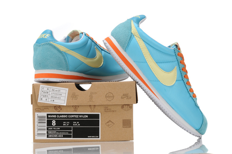 Women Nike Classic Cortez Nylon Blue Orange Shoes