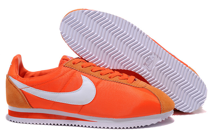 Women Nike Classic Cortez Nylon Orange White Shoes