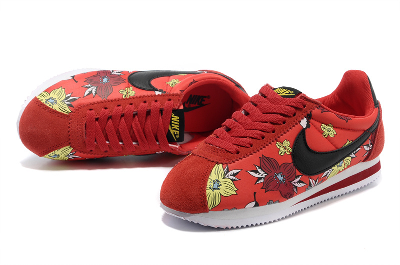 Women Nike Classic Cortez Nylon QS Aloha Red Black Shoes