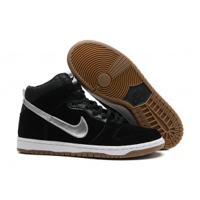 Women Nike Dunk High SB Black Silver Shoes