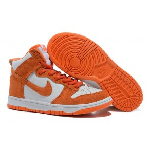 Women Nike Dunk High SB Orange White Shoes
