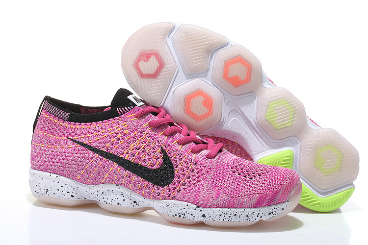 Women Nike Flyknit Agility Pink Black White Running Shoes