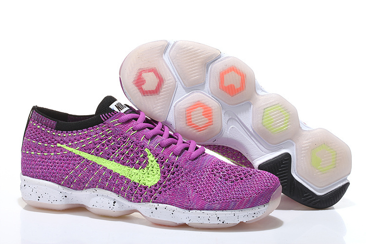Women Nike Flyknit Agility Purple Fluorscent White Running Shoes