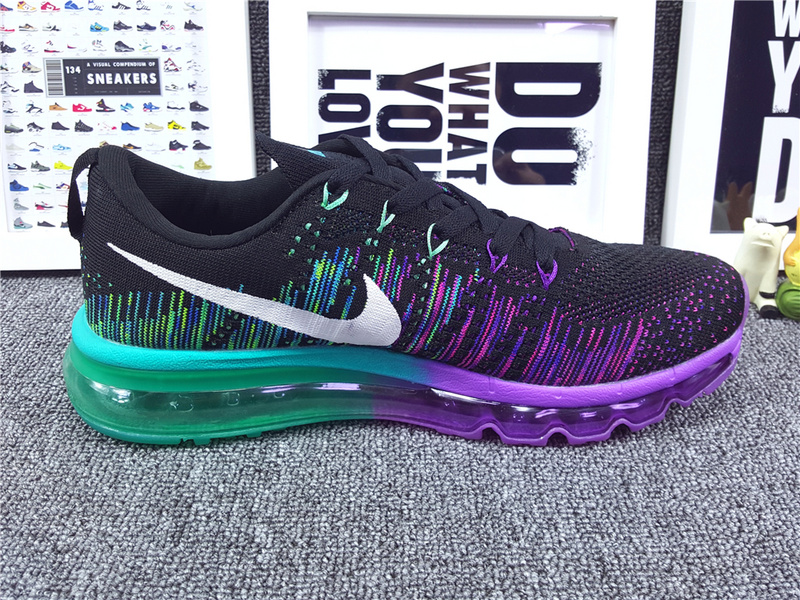 Women Nike Flyknit Air Max 2014 Black Purple Blue Shoes