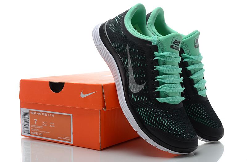 best sneakers 00102 93c50 Women Nike Free 3.0 V5 Black Green Running Shoes