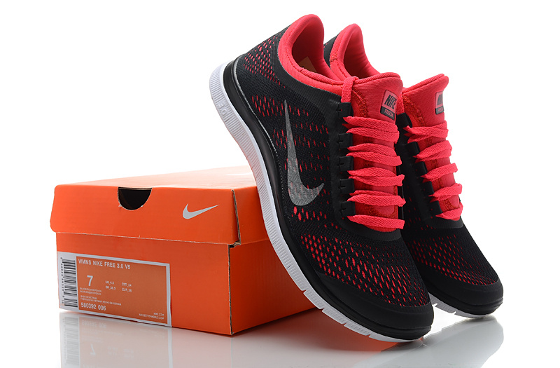 another chance b4e2e 7061e Women Nike Free 3.0 V5 Black Red Running Shoes