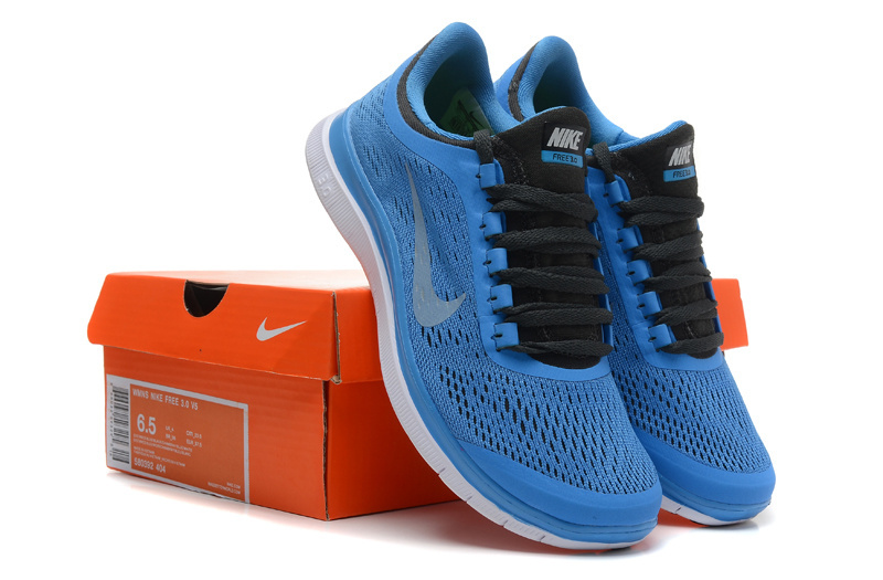 3927057c8234e Women Nike Free 3.0 V5 Blue Black White Running Shoes