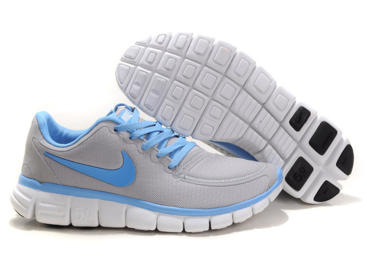 9c488285972ca Women Nike Free 5.0 V4 Running Shoes Grey Blue White
