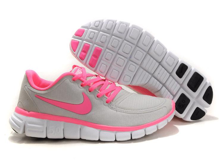 820883d57a1 Women Nike Free 5.0 V4 Running Shoes Grey Pink