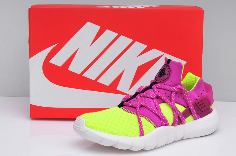 Women Nike Huarache NM Fluorscent Green Purple Shoes