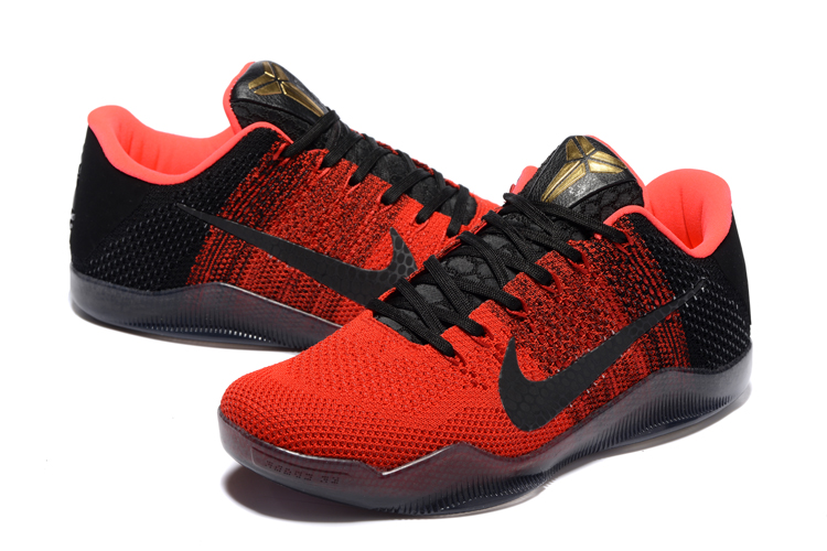 Women Nike Kobe 11 Woven Offical Black Red Shoes