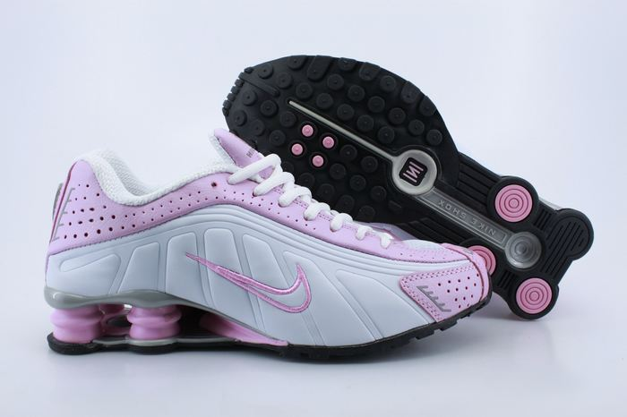 Women Shox R4 Shoes Pink White Pink Logo