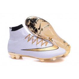 nike new mercurial superfly fg men s firm ground soccer boots gold white black